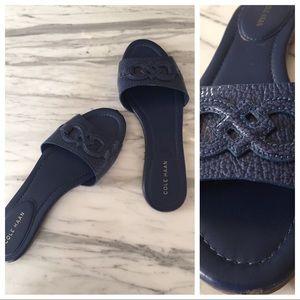 Cole Haan Blue Leather Slide Sandals